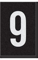 Engineer Grade Vinyl Numbers Letters White on black 9