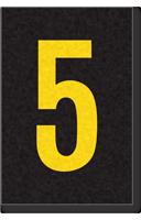 Engineer Grade Vinyl Numbers Letters Yellow on black 5