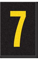 Engineer Grade Vinyl Numbers Letters Yellow on black 7