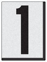 """Engineer Grade Vinyl Numbers 1.5"""" Character Black on white 1"""