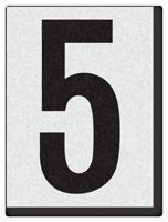 """Engineer Grade Vinyl Numbers 1.5"""" Character Black on white 5"""