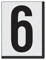 """Engineer Grade Vinyl Numbers 1.5"""" Character Black on white 6"""