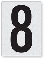 "Engineer Grade Vinyl Numbers 1.5"" Character Black on white 8"