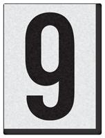 """Engineer Grade Vinyl Numbers 1.5"""" Character Black on white 9"""