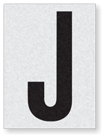 "Engineer Grade Vinyl Numbers 1.5"" Character Black on white J"
