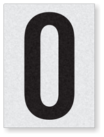 "Engineer Grade Vinyl Numbers 1.5"" Character Black on white O"