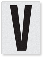 "Engineer Grade Vinyl Numbers 1.5"" Character Black on white V"