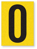 "Engineer Grade Vinyl Numbers 1.5"" Character Black on yellow 0"