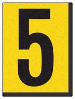 "Engineer Grade Vinyl Numbers 1.5"" Character Black on yellow 5"
