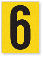 "Engineer Grade Vinyl Numbers 1.5"" Character Black on yellow 6"