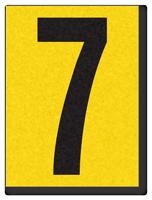 "Engineer Grade Vinyl Numbers 1.5"" Character Black on yellow 7"