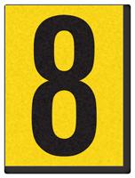 "Engineer Grade Vinyl Numbers 1.5"" Character Black on yellow 8"