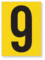"Engineer Grade Vinyl Numbers 1.5"" Character Black on yellow 9"