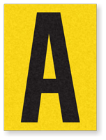 """Engineer Grade Vinyl Numbers 1.5"""" Character Black on yellow A"""