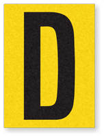 "Engineer Grade Vinyl Numbers 1.5"" Character Black on yellow D"