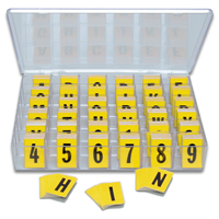 Reflective Vinyl Numbers and Letters Kit 1 Inch Tall Black and Yellow
