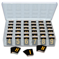 Reflective Vinyl Numbers and Letters Kit 1 Inch Tall Yellow and Black