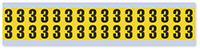 Small Vinyl Cloth Number '3' Label, 0.625 Inch