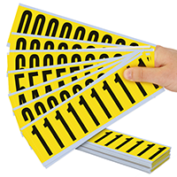 Vinyl Cloth 2 Inch character height, black on yellow, 0-9 Numeric Kit