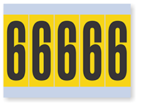 Number '6' Vinyl Cloth Label, 4 Inch