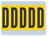 Alphabet 'D' Vinyl Cloth Label, 4 Inch