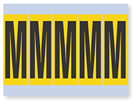 Alphabet 'M' Vinyl Cloth Label, 4 Inch