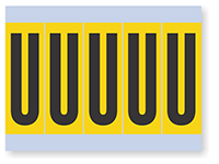 Vinyl Cloth Alphabet 'U' Label, 4 Inch