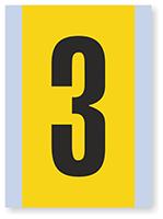 Number '3' Vinyl Cloth Label, 6 Inch
