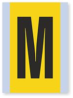 Vinyl Cloth Alphabet 'M' Label, 6 Inch