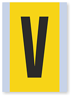 Vinyl Cloth Alphabet 'V' Label, 6 Inch