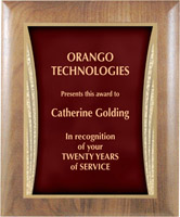 Custom Edgy Walnut Wooden Award Plaque