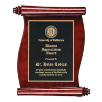 Custom Rosewood Piano Finish Scroll Wooden Award Plaque