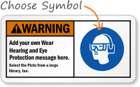 Custom Wear Hearing, Eye Protection ANSI Sign