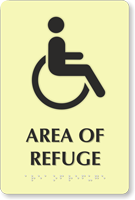 Area Of Refuge Tactile Touch Braille Engraved Sign