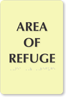 Glow In The Dark Refuge Area Braille Sign