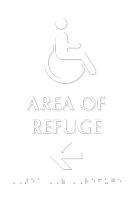 Area Of Refuge Tactile Touch Braille Sign