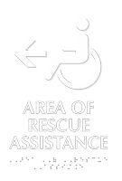 Area Of Rescue Assistance Accessible Symbol Left Arrow Sign