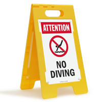 Attention No Diving Floor Sign