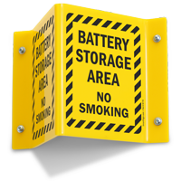 Battery Storage Area No Smoking Projecting Sign