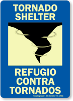 Bilingual Tornado Shelter Glow-in-the-Dark Sign