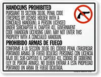 Horizontal Bilingual No Concealed Carry Texas Sign