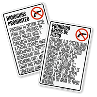 Bilingual Texas Handguns Prohibited Sign, Section 30.06