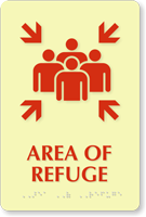 Area Of Refuge Assembly Point Pictogram Braille Sign