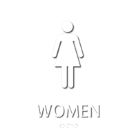 Women, with Graphic and Braille Sign