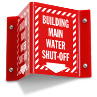 Building Main Water Shut Off Projecting Sign