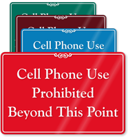 Cell Phone Use Prohibited Beyond Showcase Sign