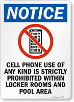 Cellphone Use Of Any Kind Strictly Prohibited Sign