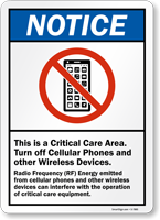 Critical Care Area Turn Off Cellular Phones Sign