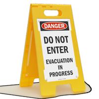 Danger Evacuation In Progress Standing Floor Sign