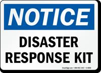 Disaster Response Kit OSHA Notice Sign